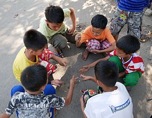 Rock–paper–scissors - Children in Myanmar playing rock–paper–scissors