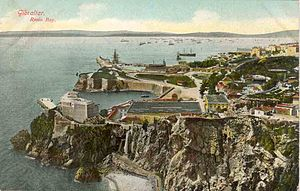 Rosia Bay - An old postcard depicting Rosia Bay circa 1909, with Parson's Lodge Battery (left) and Victualling Yard (centre).