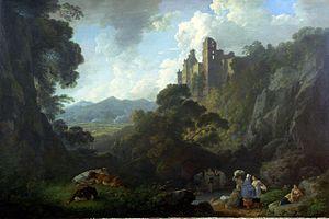 Roslin Castle - A view of Rosslyn Castle, 1803 by Julius Caesar Ibbetson