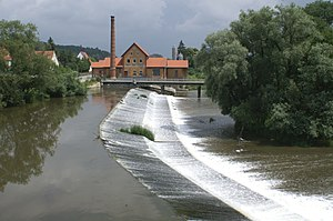 View to the east over the Streichwehr to the historic power house