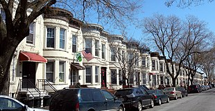 A residential block of rowhouses in Sunset Park