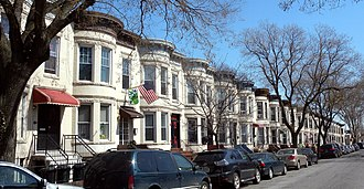 Sunset Park, Brooklyn - A residential block of rowhouses in Sunset Park