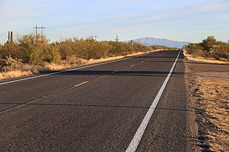 Arizona State Route 79 - Route 79 Arizona, near Tom Mix Memorial, Mt Lemmon in distance