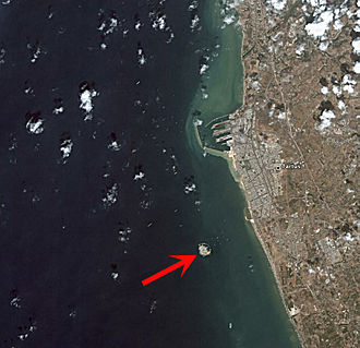 Arwad - A satellite image of Arwad, with Tartus on the Syrian coast to the east