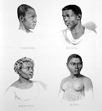 Afro-Brazilian history - Image: Rugendas Escravos de Cabinda, Quiloa, Rebola e Mina