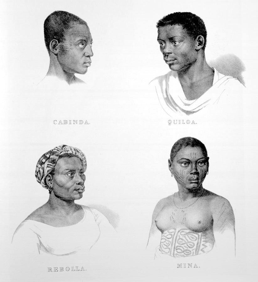 Rugendas - Escravos de Cabinda, Quiloa, Rebola e Mina