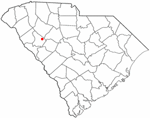 Ninety Six, South Carolina - Image: SC Map doton Ninety Six