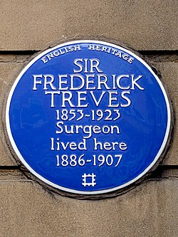 Sir frederick treves 1853 1923 surgeon lived here 1886 1907 (2)