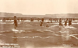 Mixed bathing - Surf bathing at Brighton-Le-Sands, Australia, early 20th century. Women's swim area.