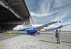 SSJ100 for Interjet - Painting the livery (8463917123).jpg