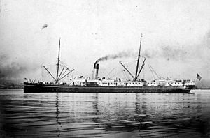 SS Parthia (1870) - A side view of the SS Victoria before her 1924 refit.