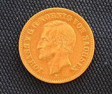 goldene 20-Mark-Münze (1872) mit dem Konterfei König Johanns (Quelle: Wikimedia)