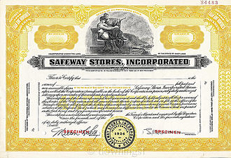 Safeway Inc. - Safeway Stores 1955 Specimen Stock Certificate