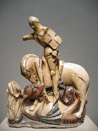 Saint George and the Dragon - Saint George and the Dragon, tinted alabaster, English, ca 1375–1420 (National Gallery of Art, Washington)