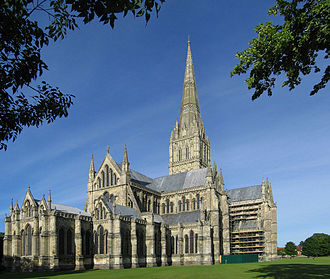 Spire - The spire of Salisbury Cathedral, at 123 metres tall the tallest in the UK