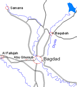 Map showin Baqubah north o Baghdad