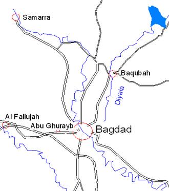 Baqubah - Image: Samarra map