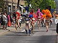 Samba dancers from Império do Papagaio at Kallio Kukkii 2019.jpg