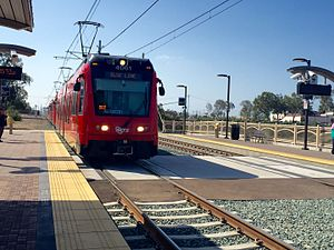 San Diego Trolley - Trolley of Blue Line arriving at E Street Station of San Diego Trolley.