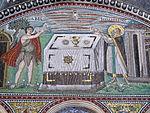 San vitale, ravenna, int., presbiterio, mosaici di dx 03 offerta di abele e melchidesech 03.JPG