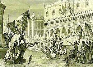 Republic of San Marco - Daniele Manin proclaims the Republic of San Marco. Lithograph, dated ca. 1850