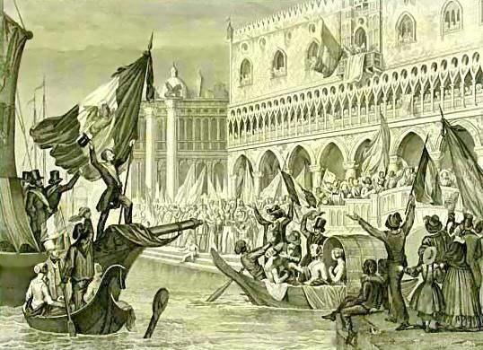 Sanesi - La proclamazione della Repubblica di San Marco, Marzo 1848 - litografia - ca. 1850