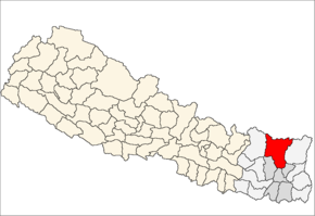 Sankhuwasabha District i Kosi Zone (grå) i Eastern Development Region (grå + lysegrå)
