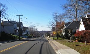Sayreville, New Jersey - Washington Road (CR 535) in Sayreville descending into the South River valley
