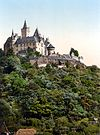 Coloured black and white photograph: the Burgberg with Wernigerode Castle (between 1890 and 1905)
