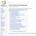 Screenshot of the English Wikipedia entry for Lists of programming languages as of 19 September 2020.png