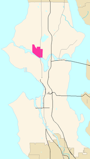 Fremont indicated on map of Seattle