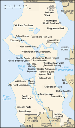 Seattle map showing landmarks