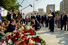 U S Secretary Of State John Kerry And Russian Foreign Minister Sergey Lavrov Lay Flowers Near French Embassy In Moscow 15 July 2016
