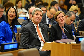 Samantha Power - Power with Secretary of State John Kerry at a UN ministerial, October 2, 2015