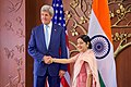 Secretary Kerry and Indian Minister of External Affairs Shushma Swaraj Pose for Photographers After Secretary Arrived to Jawarhalal Nehru Bhawan in New Delhi - Flickr - U.S. Department of State (1).jpg