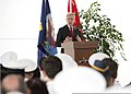 Secretary of the Navy Ray Mabus, background, delivers a speech to an audience comprised of foreign dignitaries and senior military officials aboard the littoral combat ship USS Freedom (LCS 1) at Singapore 130511-N-PD773-091.jpg
