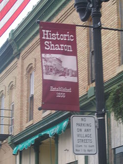 Banner within the Grace and Pearl Historic District in Sharon