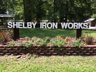 Shelby Iron Company - Image: Shelby Iron Works Park sign