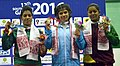 Shilpi Sheoran (India) winner of Gold Medal in 63 kg Women's wrestling with the Silver and Bronze medallist, during the presentation ceremony, at the 12th South Asian Games-2016, in Guwahati on February 08, 2016.jpg