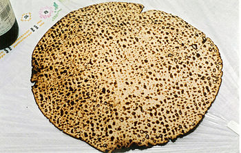 Handmade shmura matzo used at the Passover Sed...