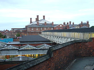 HM Prison Shrewsbury - Another view of the prison from the adjacent railway station