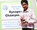 Shubham Banerjee with the Synopsis Outreach Foundation 2014 n+1 award.jpg