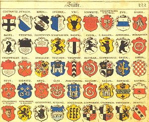 Coat of arms of Kaliningrad - Old arms of Königsberg (Kv̈nigsperg in Preußen) in bottom left corner in roll of arms made by Johann Siebmacher