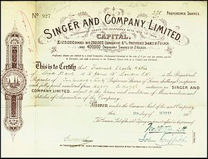 Singer Motors - Preferred Share of the Singer and Company Ltd, issued 19. October 1903