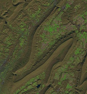 Brush Mountain (Blair County, Pennsylvania) - 2016 Landsat image of Sinking Valley and Brush Mountain