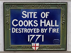 Site of cooks hall destroyed by fire 1771