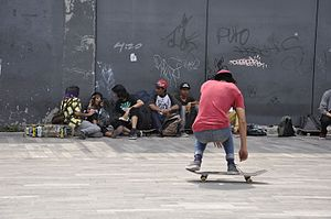 Shove-it - Image: Skateboarding at Mexico City Flip 072