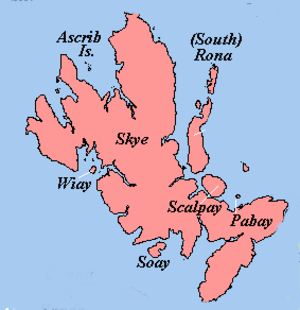 Ascrib Islands - Ascrib Islands relative to Skye