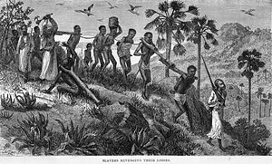 History of slavery - Arab slave traders and their captives along the Ruvuma river (in today's Tanzania and Mozambique), 19th-century engraving.