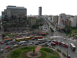 The busy roundabout on Slavjia Square
